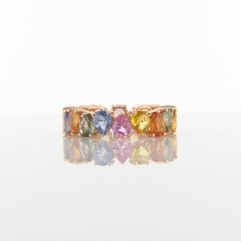 Pear Rainbow Sapphire Eternity Ring