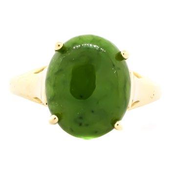 14K Gold Green Jade Signet Bridge Ring