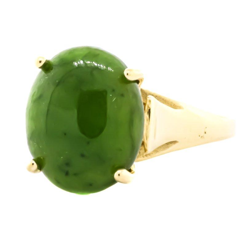 Estate Jewelry 14K Gold Green Jade Signet Bridge Ring