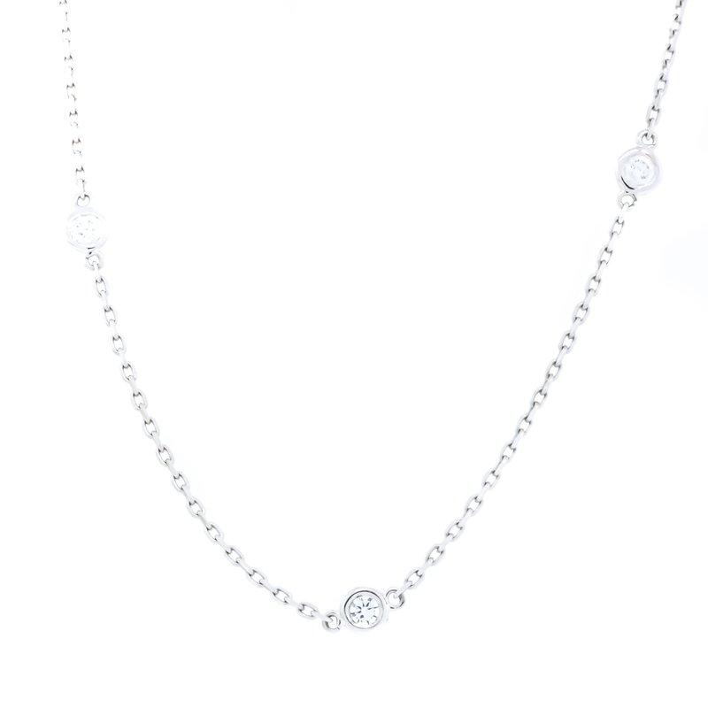 "Iroff and Son Jewelers  14K White Gold Diamond Bezel Station Necklace 18"""