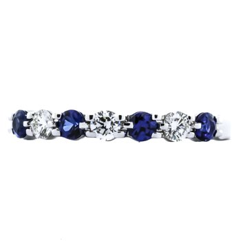 14K White Gold 7 Stone Sapphire and Diamond Wedding Band