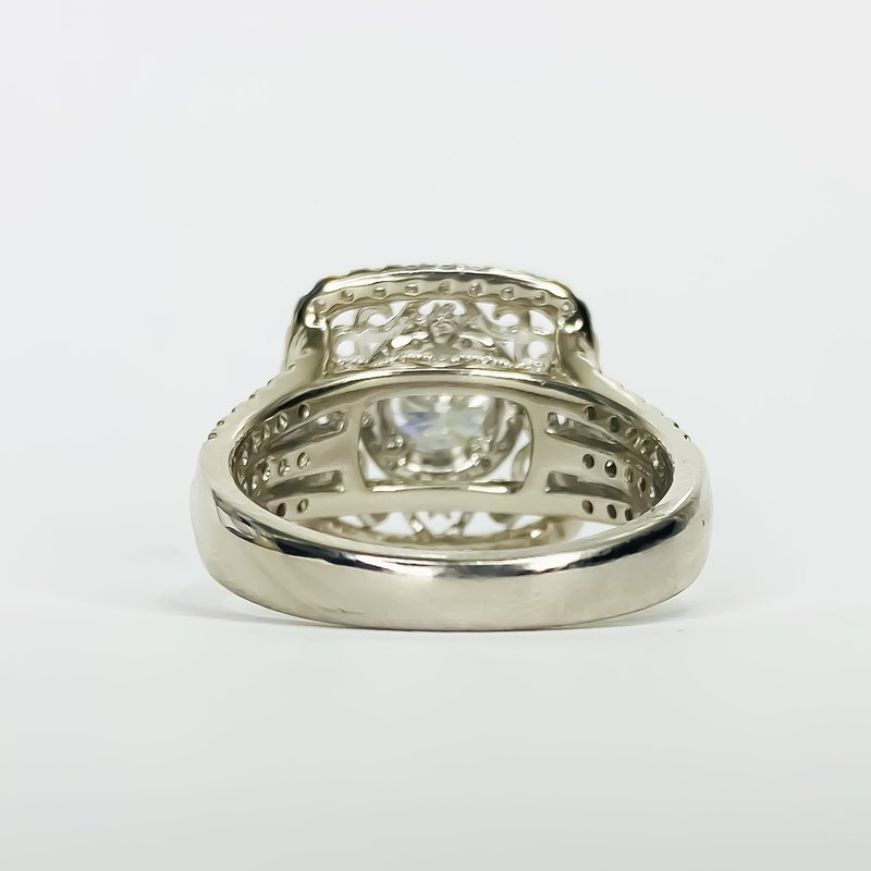 Iroff and Son Jewelers  14K White Gold Cushion Filigree Halo Diamond Engagement Ring
