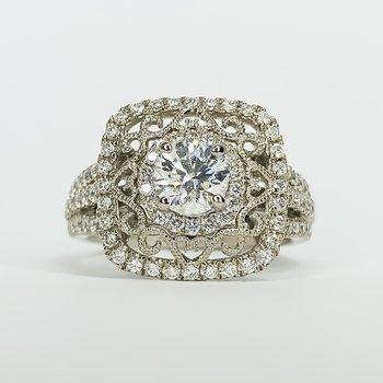 14K White Gold Cushion Filigree Halo Diamond Engagement Ring