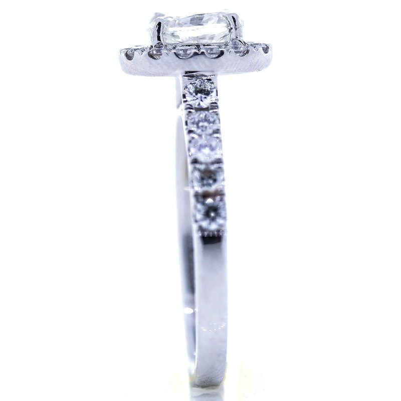Iroff and Son Jewelers  14K White Gold 2 Carat Oval Halo Diamond Band Engagement Ring SZ 6.5