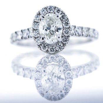 14K White Gold 2 Carat Oval Halo Diamond Band Engagement Ring SZ 6.5