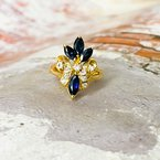 Estate Jewelry 14K Gold Marquise Sapphires and Diamond Lily Symbol Ring