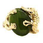 Estate Jewelry 14K Gold Jade Alligator Ouroboros Signet Ring