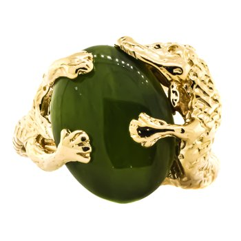 14K Gold Jade Alligator Ouroboros Signet Ring
