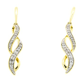 10K Gold Infinity Fashion Diamond Dangle Earrings