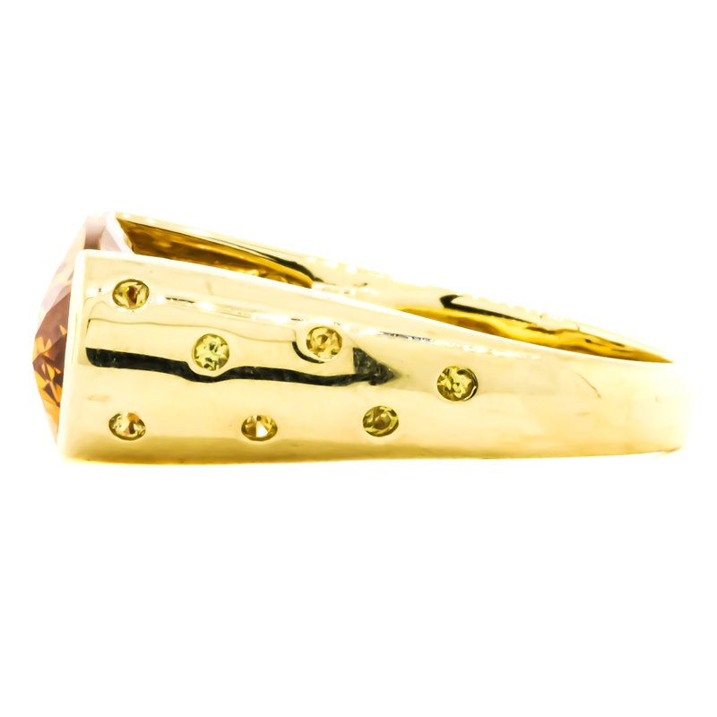 Estate Jewelry 18K Gold Citrine and Diamond Modernist Bridge Ring