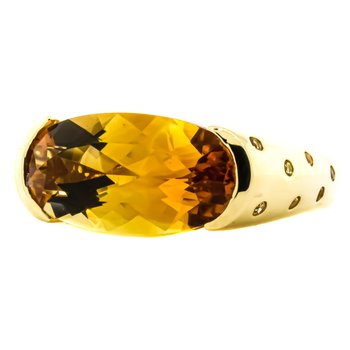 18K Gold Citrine and Diamond Modernist Bridge Ring