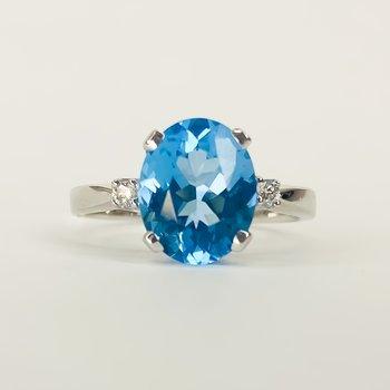 14K White Gold Three Stone Blue Topaz Center Diamond Sizes Ring SZ 6.5