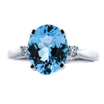 14K White Gold Three Stone Blue Topaz Center Diamond Sizes Ring SZ 6.5