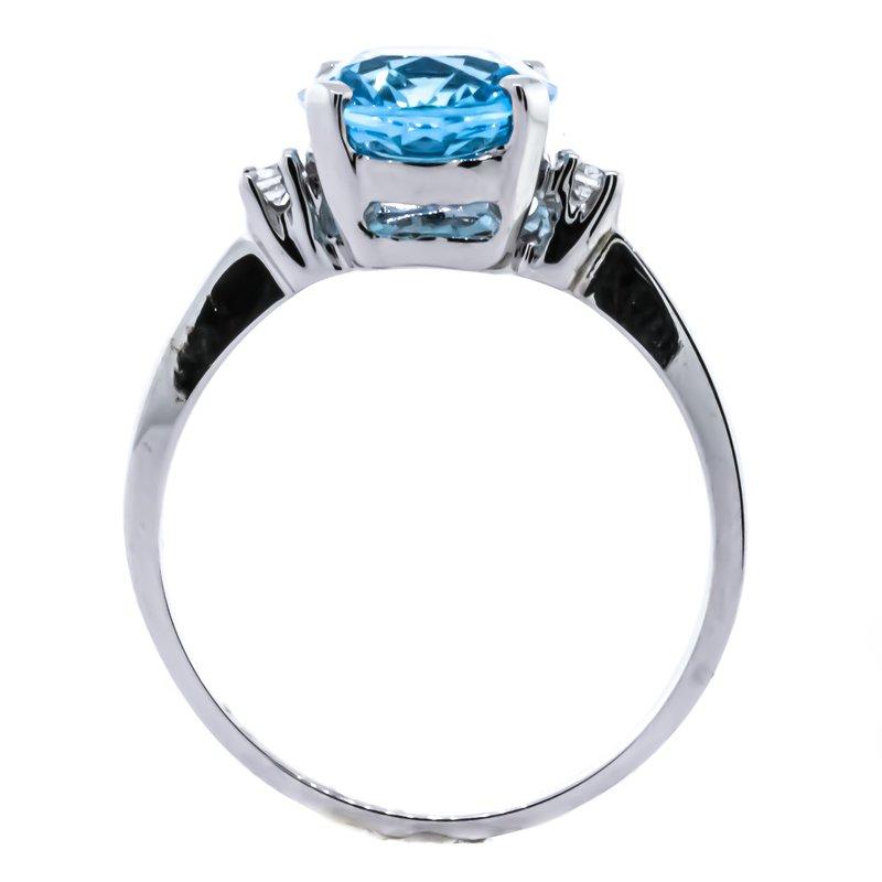 Iroff and Son Jewelers  14K White Gold Three Stone Blue Topaz Center Diamond Sizes Ring SZ 6.5