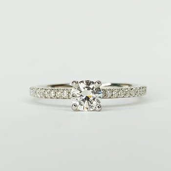 14K White Gold Solitaire Round Diamond Band Engagement Ring Size 6