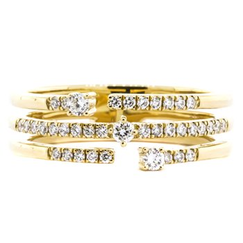 14K Gold 3 Row Open Diamond Fashion Ring