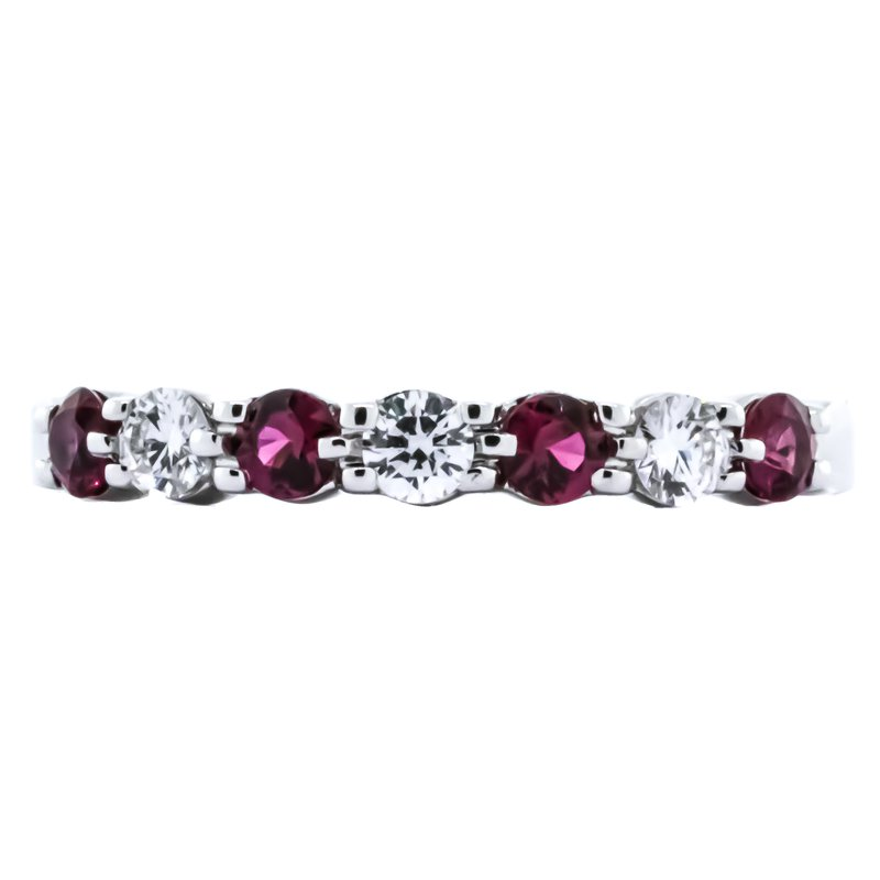 Allison-Kaufman 14K White Gold 7 Stone Ruby and Diamond Wedding Band
