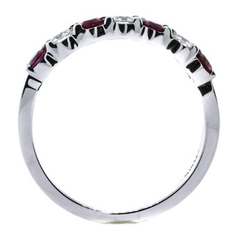 14K White Gold 7 Stone Ruby and Diamond Wedding Band