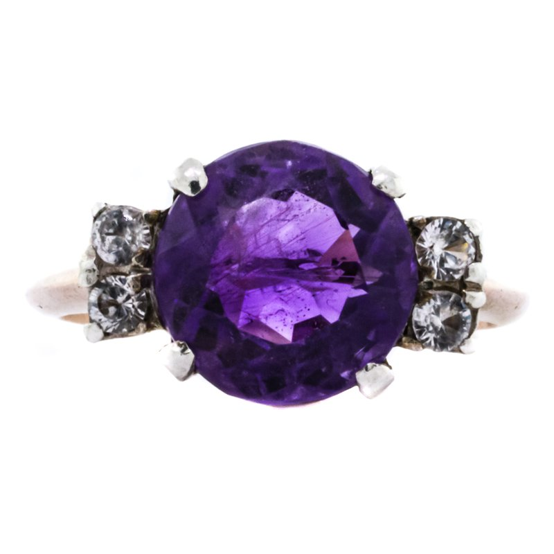 Estate Jewelry 10K Two Tone Rose and White Gold Amethyst and Diamond Ring