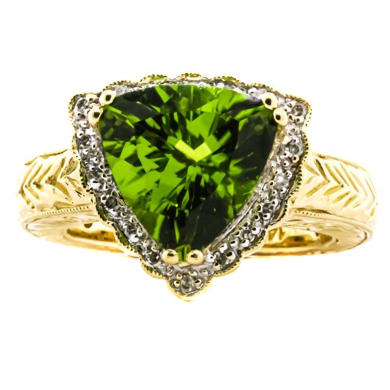 Estate Jewelry 14K Gold Trillion Cut Peridot and White Diamond Pave Scrolling Ring