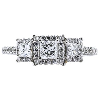 14K White Gold SAI 3 Stone Princess Halo Diamond Engagement Ring