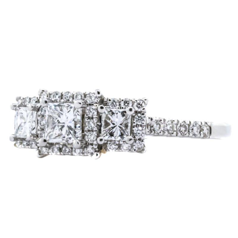 Estate Jewelry 14K White Gold SAI 3 Stone Princess Halo Diamond Engagement Ring