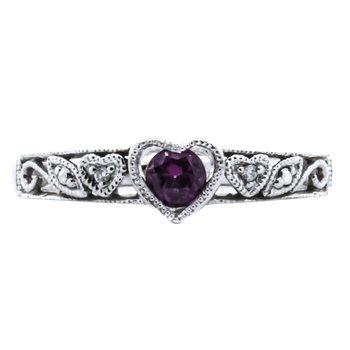 10K White Gold Garnet Diamond Filigree Scroll Heart Ring
