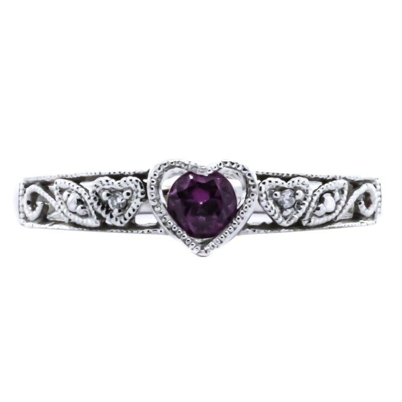 Estate Jewelry 10K White Gold Garnet Diamond Filigree Scroll Heart Ring