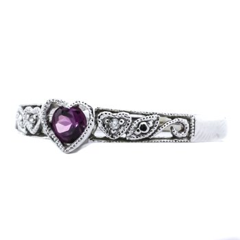 10K White Gold Garnet Diamond Filigree Scroll Heart Ring
