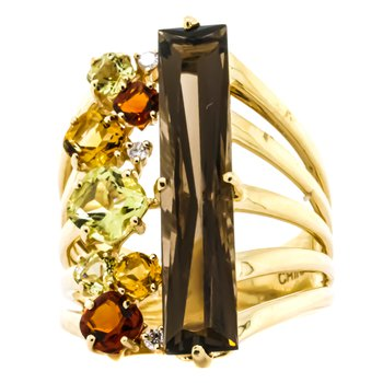 14K Gold Multi-Gemstone Split Layer Shank Ring