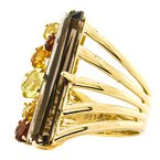 Estate Jewelry 14K Gold Multi-Gemstone Split Layer Shank Ring