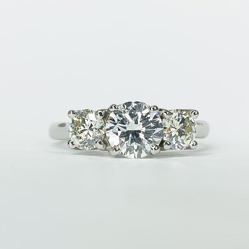 14K White Gold 3 Stone Diamond Engagement Ring