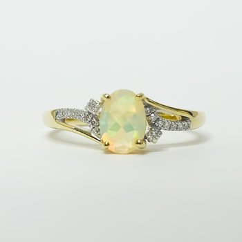10K Gold Opal and diamond Bypass Split Shank ring