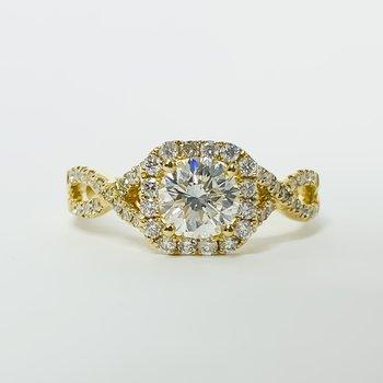 18K Gold Cushion Halo Twist Band DIA Diamond Engagement Ring