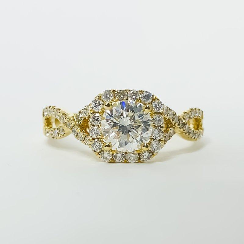 Iroff and Son Jewelers  18K Gold Cushion Halo Twist Band DIA Diamond Engagement Ring