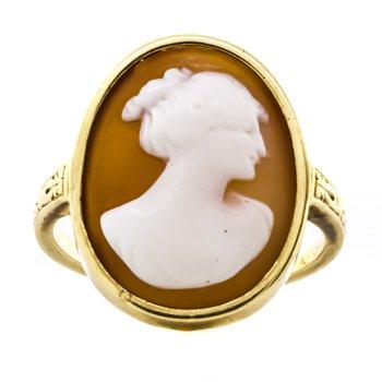 14K Gold Cameo Shell Omega Motif Signet Ring