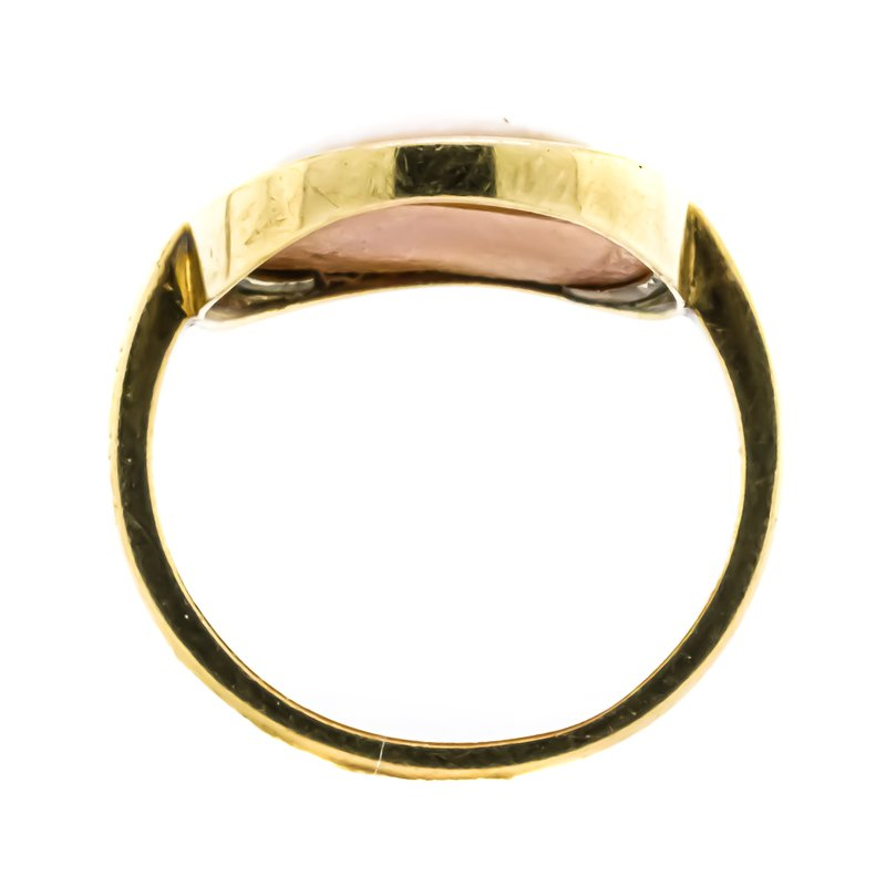 Estate Jewelry 14K Gold Cameo Shell Omega Motif Signet Ring