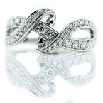 Iroff and Son Jewelers  18K White Gold Double Twist Diamond Wrap Fashion Ring SZ 6.5