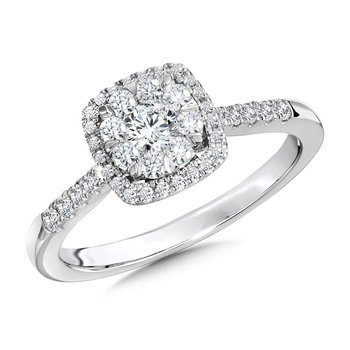 14K White Gold Cushion Cluster Halo Diamond Engagement Ring