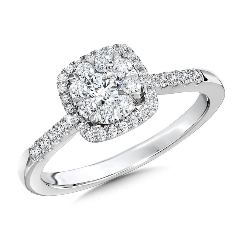 Iroff and Son Jewelers  14K White Gold Cushion Cluster Halo Diamond Engagement Ring