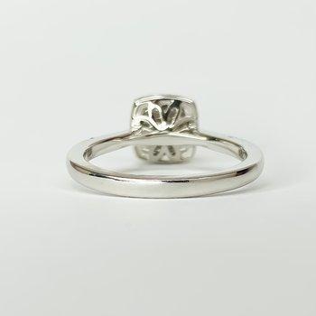 14K White Gold Cushion Cluster Halo Diamond Engagement Ring