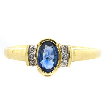 10K Gold Channel Sapphire and Diamond Accent Ring