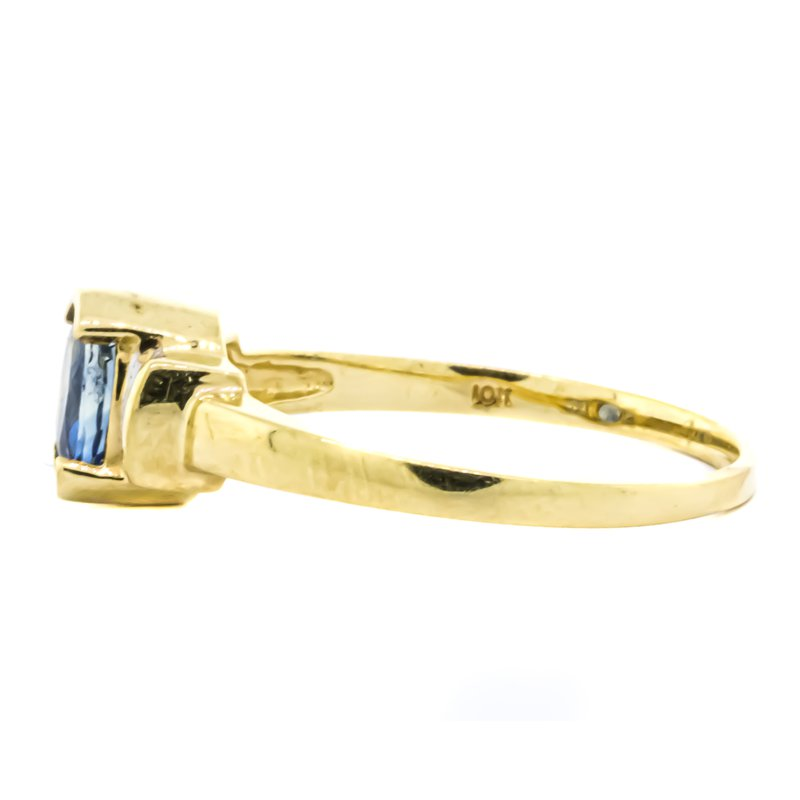 Estate Jewelry 10K Gold Channel Sapphire and Diamond Accent Ring