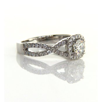 Cushion Halo Infinity Shank Engagement Ring