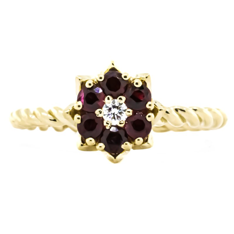 Iroff and Son Jewelers  14K Gold Ruby and Diamond Tulip Twisted Band Ring