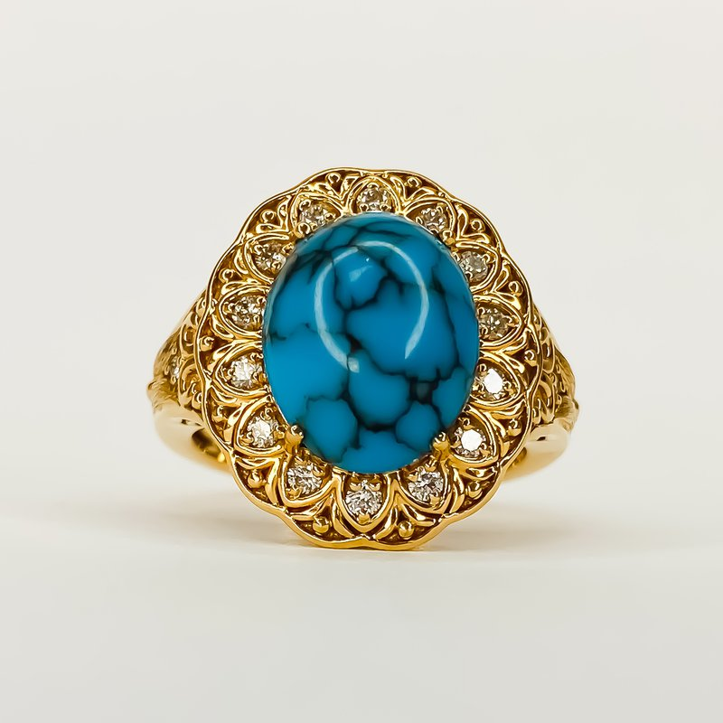 Iroff and Son Jewelers  18K Rose Gold Oval Delta Turquoise 5.60CT Diamond Accent statement Ring Size 7