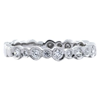 18K White Gold Small and Large Alternation Diamond Band