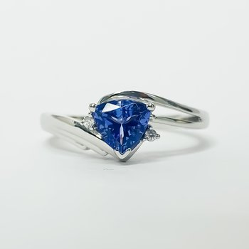 10K White Gold Trillion Tanzanite Diamond Accent Ring