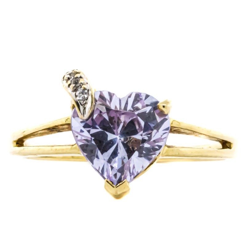 Estate Jewelry 10K Gold Heart Amethyst Split Shank Ring