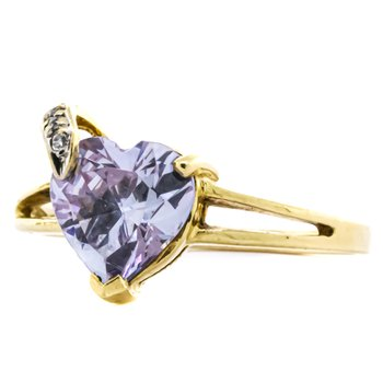 10K Gold Heart Amethyst Split Shank Ring
